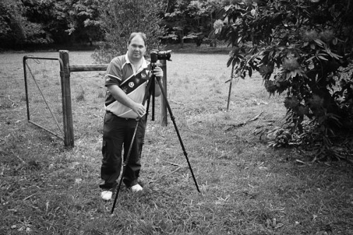 Me taking photos of the garden. Photo by Barry Johnston.