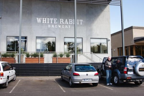 The White Rabbit Brewery. Barry getting the kit out of the 4x4...