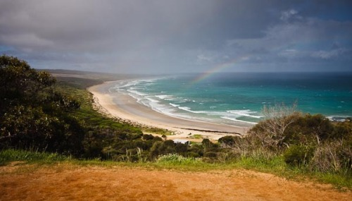 On the way out of Anglesea (towards Melbourne), we could see this amazing rainbow! We stopped and within seconds (about 15 seconds), the rainbow had gone. I managed to get this shot that shows a slight hint that it was there.